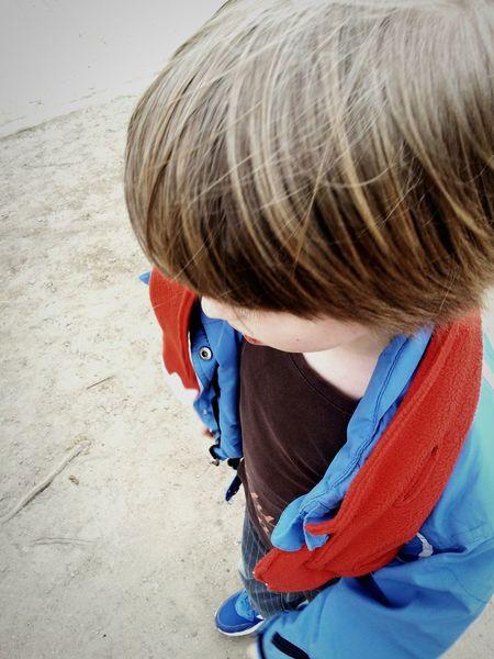 Child Boy Red Blue Hairy  Street Thinking