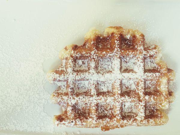 Waffle Liège Powderedsugar Sugar Crispy Delicious Brussels Dessert Breakfast