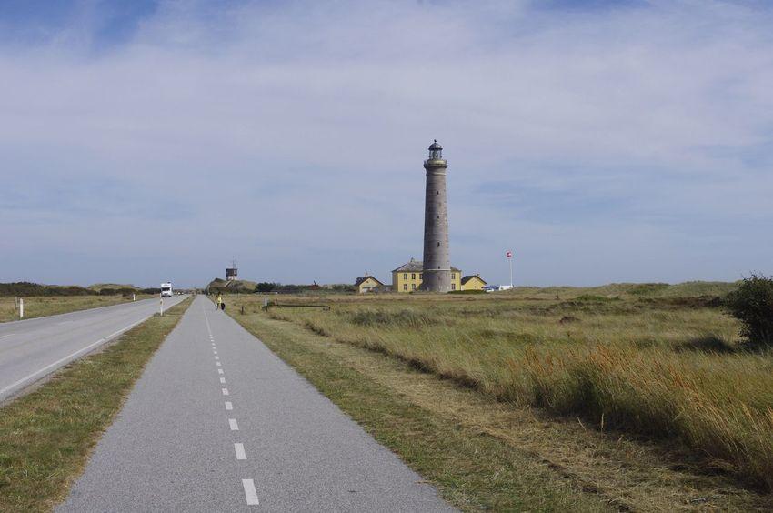 Sky Lighthouse Field Day Grass Landscape Road Outdoors Architecture Nature Tranquil Scene Skagen Fyr Denmark Skagen