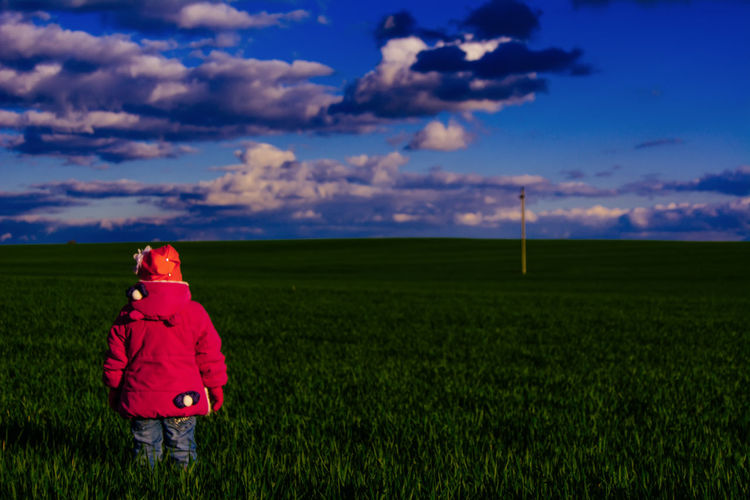 Rear View Of Child Standing On Grassy Field Against Sky