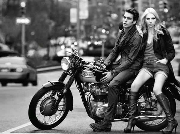 Black & White Bikers Couple Rebelle Photography