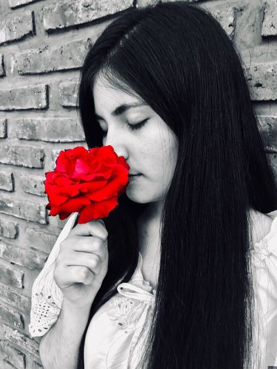 Portrait Red Flower Black & White Flower One Person Red Black Hair Fragility Beautiful Woman Rose - Flower Beauty Blackandwhite Photography Human Face Teengirl Red Color Real People RedFlower Angels Teenage Girls Teenagers  EyeEmNewHere