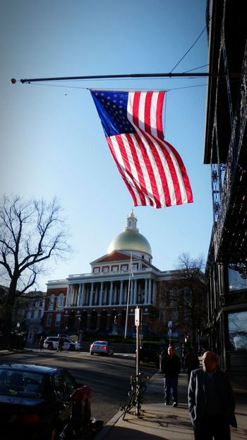 Flag At Half-mast Massachusetts State House Boston, Massachusetts Walking On The Street Domed Structures Historical Building History Architecture_collection S6