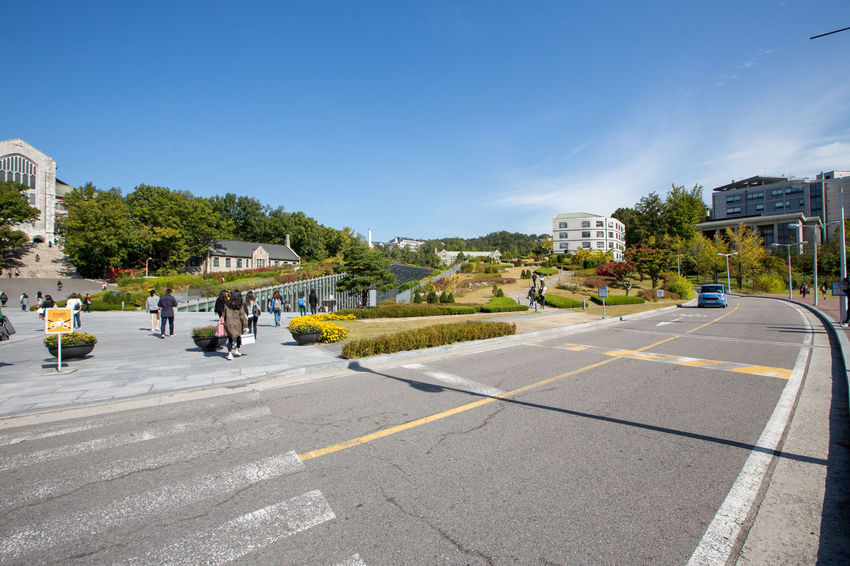 Campus of EWHA - Woman's University of Seoul, south Korea. Architket: Dominique Perrault Architecture Perrault Seoul Seoul, Korea Architecture Blue Building Exterior Built Structure City Clear Sky Day Ewha Ewha Womans University Nature Outdoors Real People Residential Building Road Sky Street Transportation Tree