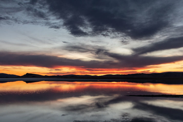 Mongolia Cloud - Sky Sky Sunset Scenics - Nature Beauty In Nature Tranquility Tranquil Scene Idyllic Orange Color Water Dramatic Sky No People Nature Non-urban Scene Lake Cloudscape Silhouette Moody Sky Outdoors Romantic Sky The Traveler - 2019 EyeEm Awards
