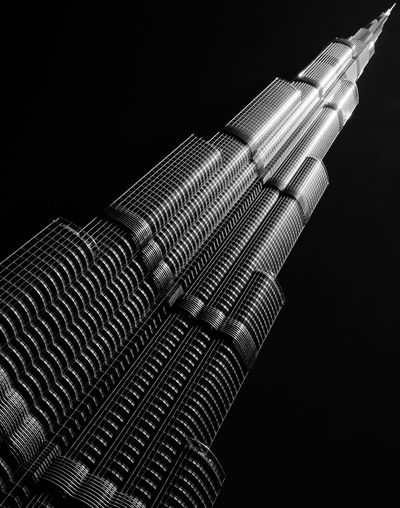 Burj Dubai Tower Burj Dubai Tower Dubai Black And White Black Background Bw Close-up Indoors  Low Angle View Modern Night No People Technology