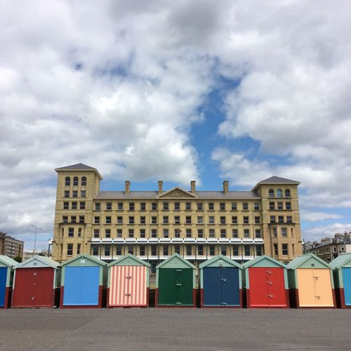 Brighton Beach Brighton Beach Huts Blue Sky white clouds Seaside Council Building