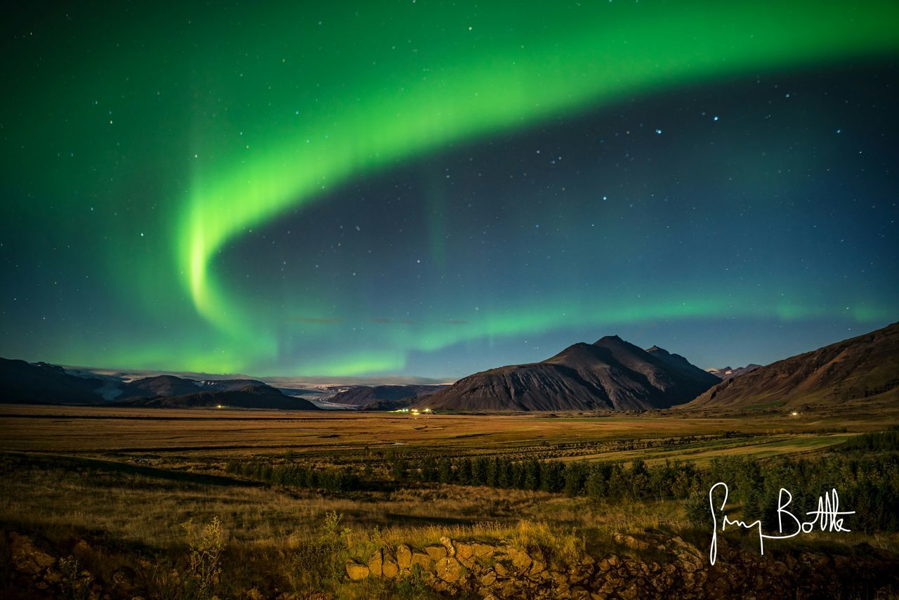 mountain, scenics, beauty in nature, nature, tranquility, green color, landscape, tranquil scene, no people, sky, outdoors, aurora polaris, night, star - space, astronomy, galaxy