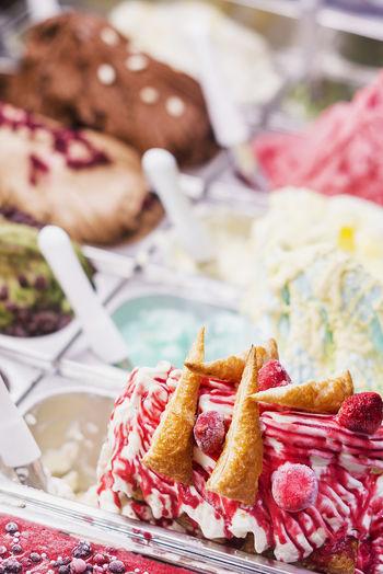Close-up of ice creams