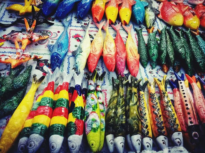 Full frame shot of multi colored decoration for sale at market stall