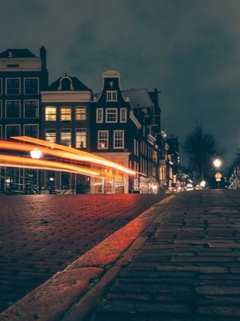 Amsterdam Long Exposure Building Exterior Architecture Night Built Structure Illuminated Sky Street Transportation Street Light City No People