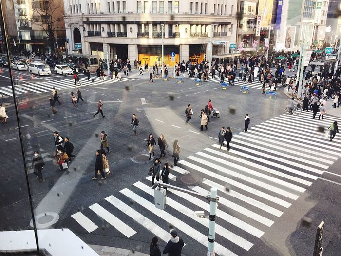 Large Group Of People Road Marking Walking City Building Exterior Road Street Crosswalk Men Outdoors Real People Day City Life Architecture Women People Crowd Adults Only Adult Travel Destinations Ginza Tokyo Japan Lifestyles Famous Place Weekend Activities Metropolitan