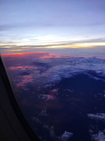 Sky Transportation Airplane Flying Clouds Sunset Airplane View