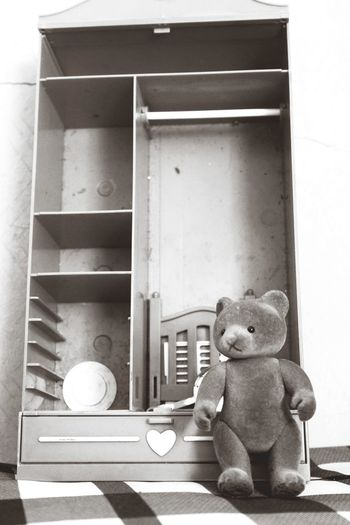 Creepy Photography Photooftheday Photographer Photograph Truelife Days  Like Lovephotography  Hobby Hobbyphotography Hobbies Myhobby Day City Life True Truestory Truelife Teddy Bear Bear Scare Old Oldphoto Oldpicture Stuffed Toy Domestic Room Toy Close-up Teddy Bear Cabinet