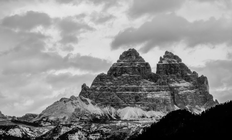 3 Zinnen from Lago di Misurina EyeEm Best Shots EyeEmNewHere EyeEm Nature Lover EyeEmBestPics EyeEm Best Shots - Nature EyeEm Best Shots - Black + White Mountain Sky Rock Formation Rock - Object Nature Tranquility Cloud - Sky Beauty In Nature Physical Geography Low Angle View Outdoors Tranquil Scene Landscape Day No People Scenics