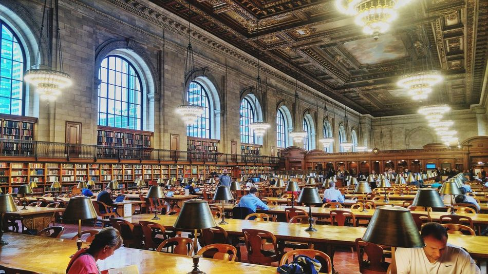 New York City Public Library Religion Place Of Worship Spirituality Indoors  Large Group Of People Window Architecture