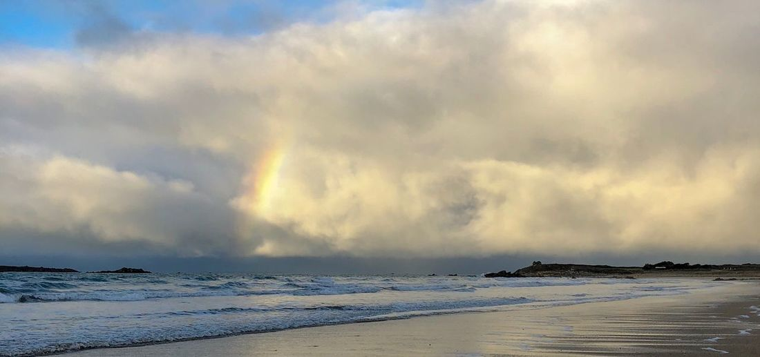Rainbow Bretagne Rainbow Sea Sky Beauty In Nature Cloud - Sky Nature Scenics Water Storm Cloud Horizon Over Water Beach Tranquility Outdoors