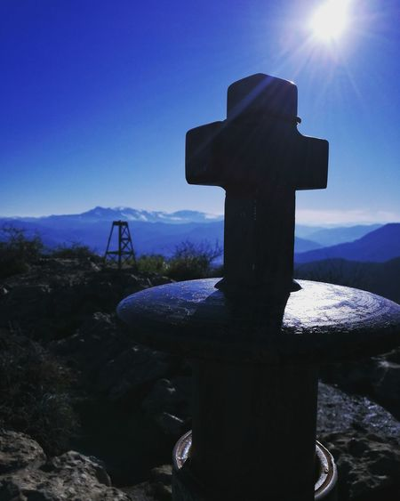 monte pagasarri Mountain Pagasarri Bilbao Vizcaya SPAIN Tombstone Memorial Cross No People Grave Nature