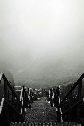 Escaping Stairs Foggy Mystical
