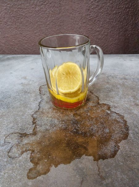 Food And Drink Drink Indoors  Refreshment Drinking Glass Day Close-up Freshness Leaking Water Mark Lemon Glass