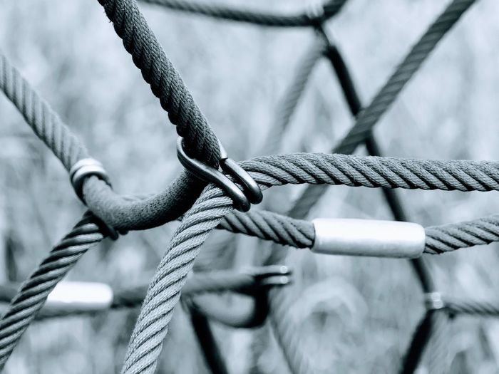 Close-up of rope play equipment at playground