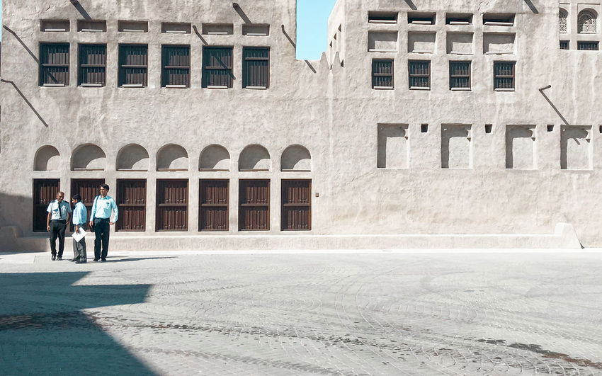 Sheikh Saeed Al Maktoum House, Dubai Adult Adults Only Architecture Building Exterior Built Structure City Day Full Length Historical Building Men Outdoors People Real People Standing Two People