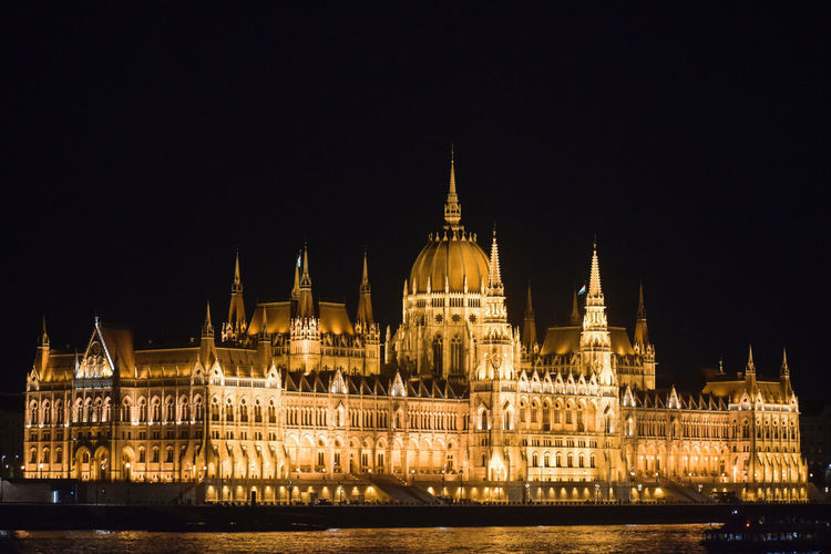 Illuminated hungarian parliament building against sky at night