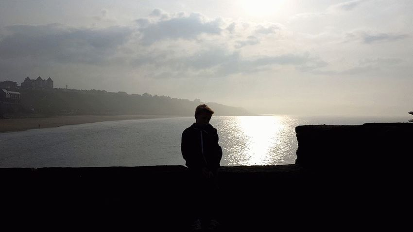Silhouette One Person Rear View Sunset Sky Cloud - Sky Beach Outdoors Whitby Pier Whitby Beach Sea Myboy💕 One Young Man Only Nature Your Ticket To Europe Mix Yourself A Good Time EyeEmNewHere The Week On EyeEm