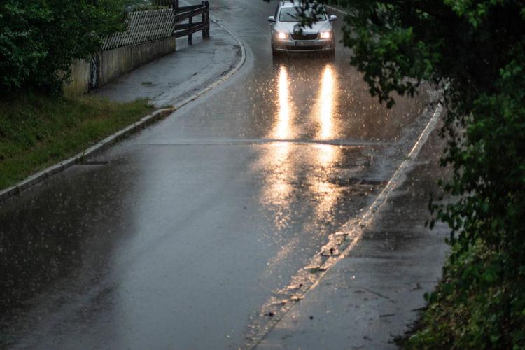 wet street in