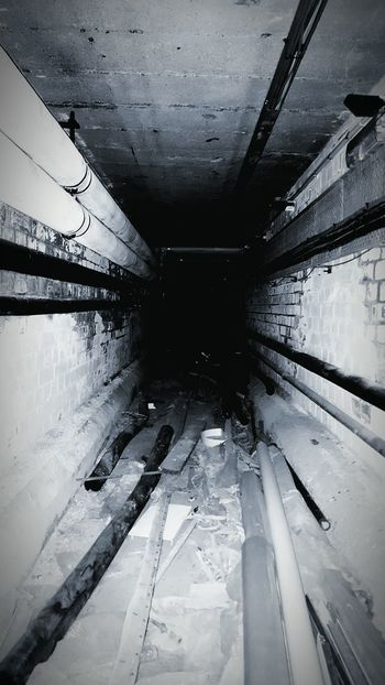 The Way Forward Long Messy Diminishing Perspective Iron - Metal Subway Station No People Darkness Dont Look Back Horror Photography Creepy