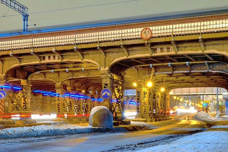 Railway Bridge Illumination Bridge Blue Electric Light Night Lights Railway Train Railway Track Train Station Railway Station Illuminated Arch Architecture Cold Temperature Night Built Structure Winter Snow Carousel Ice Rink Outdoors Architectural Column No People Mobility In Mega Cities