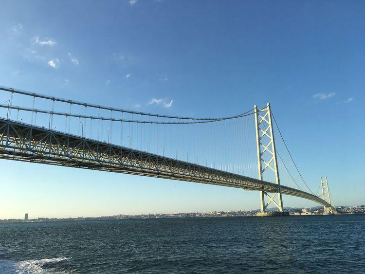 Akashi Kaikyo Bridge 明石大橋 Japan Awajishima Under The Bridge Sky Water Connection Nature No People Bridge Suspension Bridge Bridge - Man Made Structure Sea Blue Day Outdoors