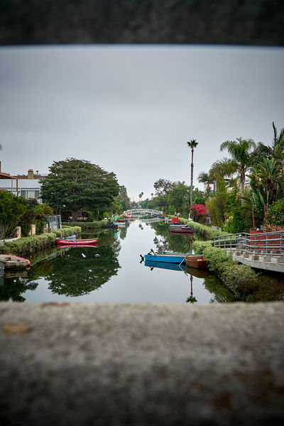 Venice Beach Canals on cloudy day Water Plant Reflection Tree Transportation Nautical Vessel No People Day Sky Waterfront Venice Beach Venice Canals Venice Beach Canals