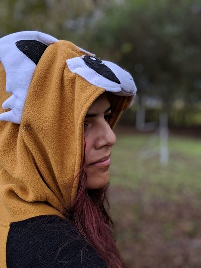 Fighting Cancer With A Kigurumi 8 Dyed Red Hair Dyed Hair Pixel 3 Xl Cancer Hodgkin Lymphoma Kigurumi Red Panda Kigurumi Side View Women Young Women Headshot Portrait Close-up Hood - Clothing Wearing Tranquil Scene Countryside Non-urban Scene Tranquility