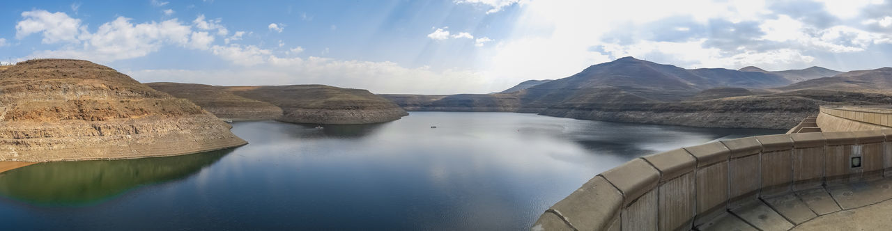 Panoramic view of katse dam hydroelectric power plant in mountains of lesotho, africa