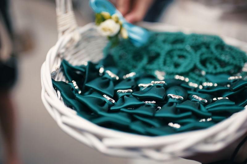Wicker basket with wedding decoration