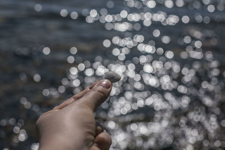 A hand holding a seashell against blurred water