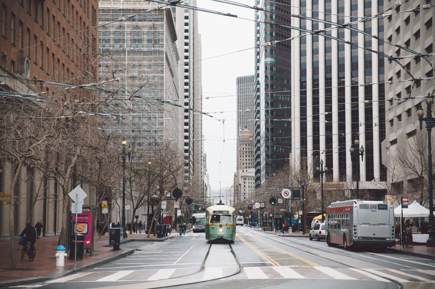2017 Architecture Building Exterior Built Structure Car City Day February Land Vehicle Marker Modern No People Outdoors Road San Francisco Sky Street Tram Transportation Tree