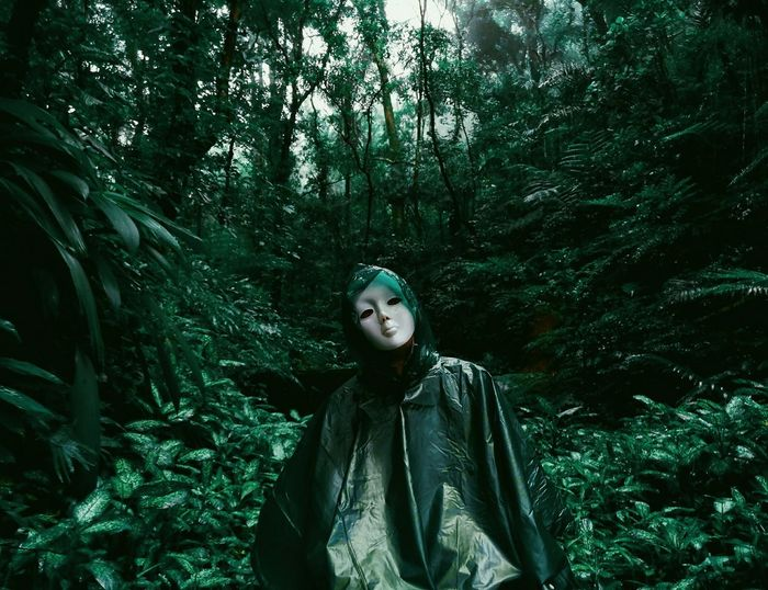 Monochrome The Great Outdoors - 2017 EyeEm Awards The Portraitist - 2017 EyeEm Awards Maskedportraits Masked Portrait Halloween Masked Mobile Photography EyeEm Best Shots Eyeem Philippines CapturedByZ3N Beauty In Nature Philippines Bulusan Sorsogon Nature Nature Forest Tree One Person Outdoors Looking At Camera Portrait