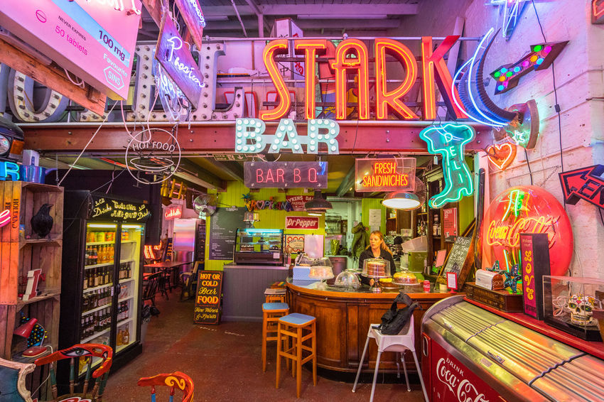 Neon signs and decorations at God's Own Junkyard in Walthamstow, London. Bright Colors Colourful Neon Signs Bar City Lighting Illuminated Multi Colored Neon Neon Lights Urban Urban Lighting