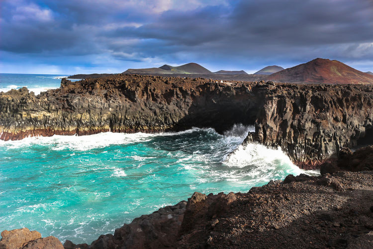 SPAIN Fuerteventura Ocean Rock Wawes Blue Clouds Storm Panorama Landscape Epic Mountains Desert Holiday Moments
