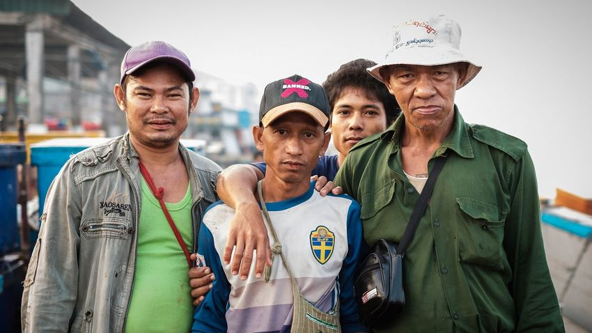 Fishermen's portrait in Yangon Myanmar Myanmar Yangon Fisherman EyeEm Selects Group Of People Looking At Camera Togetherness Young Men Portrait Front View People
