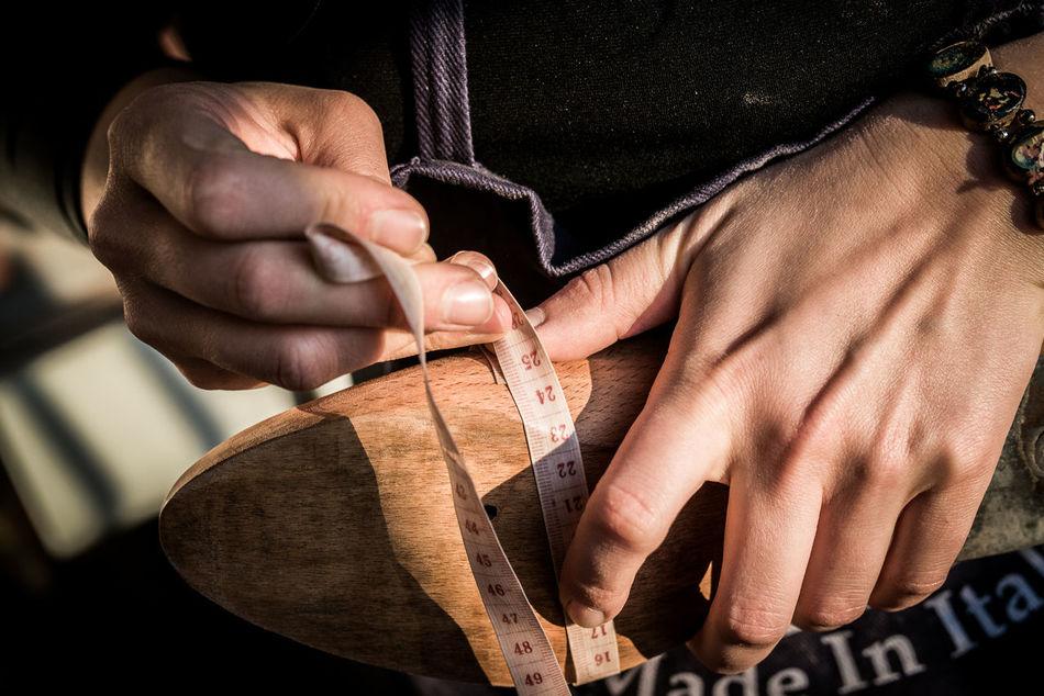 Centimeter Custom Made Hand Handmade Hands Hands At Work Meter Shadow Shoe Making