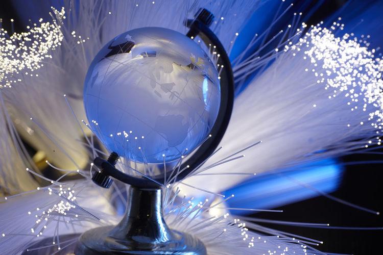 Low angle view of crystal ball