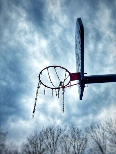 Cloud - Sky Sky Low Angle View No People Outdoors Basketball Hoop Day Gloomy Sky Broken Chains Leisure Sport