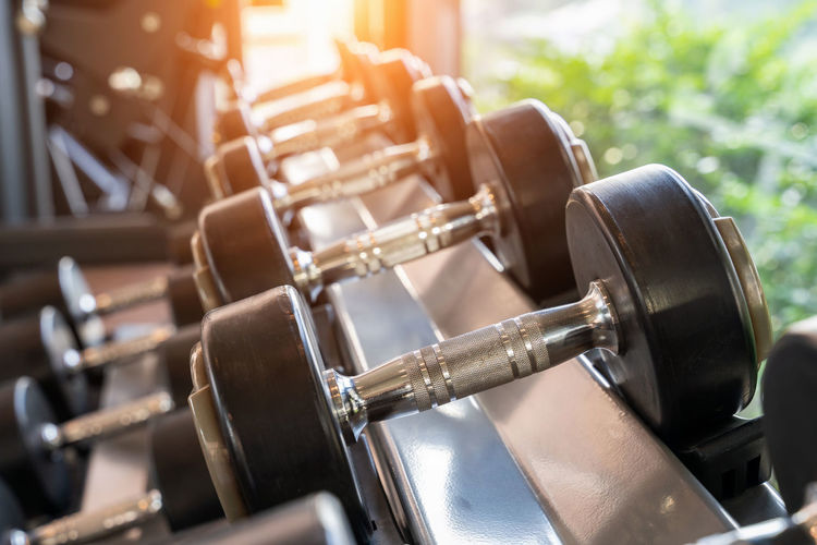 Dumbbells in a fitness. Metal Food And Drink Industry Business Food And Drink Sunlight No People Industry Day Close-up Nature Beer - Alcohol In A Row Brewery Factory Focus On Foreground Indoors  Drink Lens Flare Refreshment Machinery Distillation Craft Beer Weight Training  Soft Focus