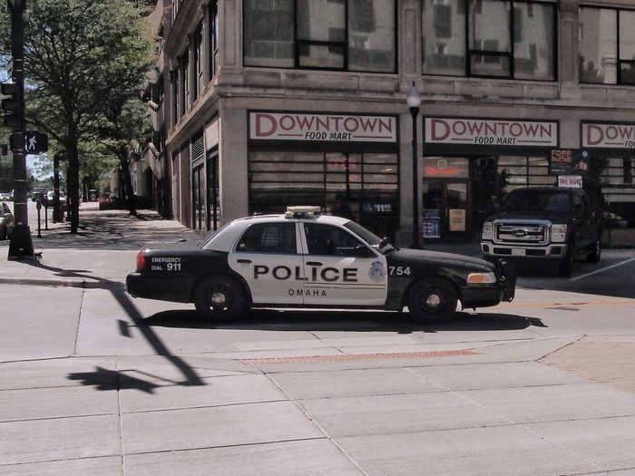 Downtown America Crown Victoria Omaha, Nebraska City Communication Text Car Land Vehicle Architecture Building Exterior Built Structure Police Car Police Force