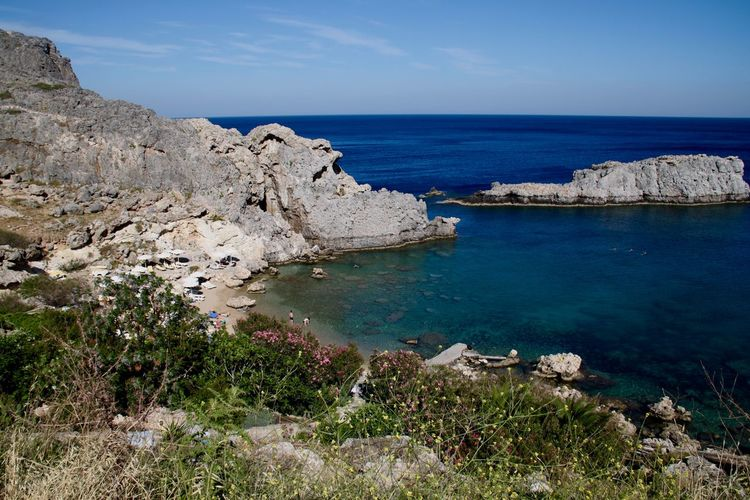 Blue Sea Rocky Saint Paul's Bay Seashore Bay Beach Beauty In Nature Cliff Horizon Over Water Landscape Lindos Mountain Nature No People Rock - Object Rock Formation Scenics Sea Seaside Shore Tranquil Scene Tranquility Water