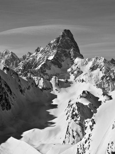 Alpine landscape, view of mont blanc.