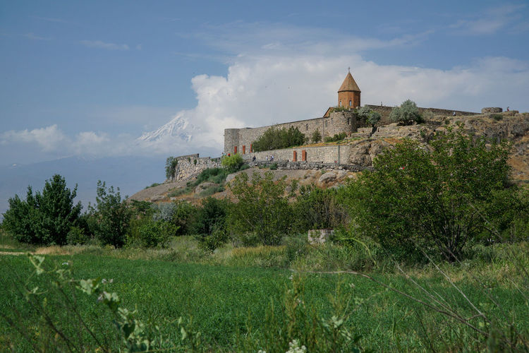 Low angle view of the monastery of khor virap in armenia